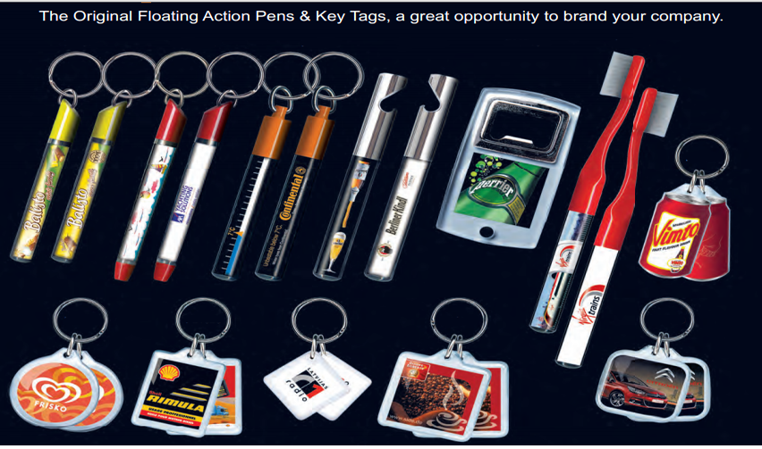 Fairway Manufacturing Company Line of Floaty Pen Products and Key Tags
